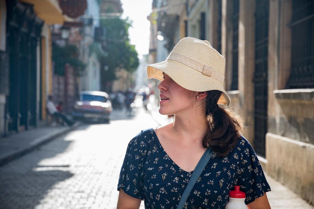 Student on Cuban street
