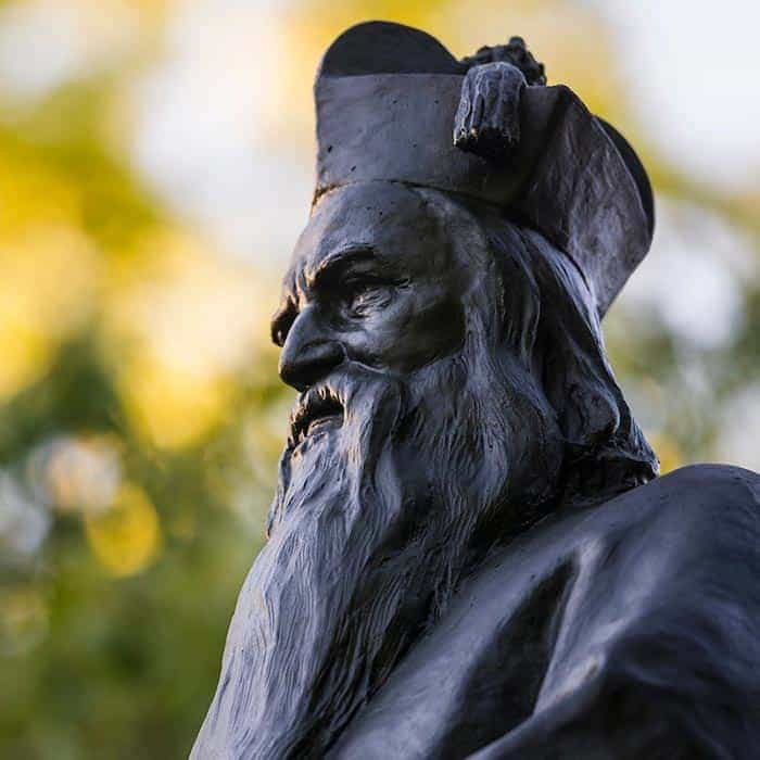 A statue of Father Sorin