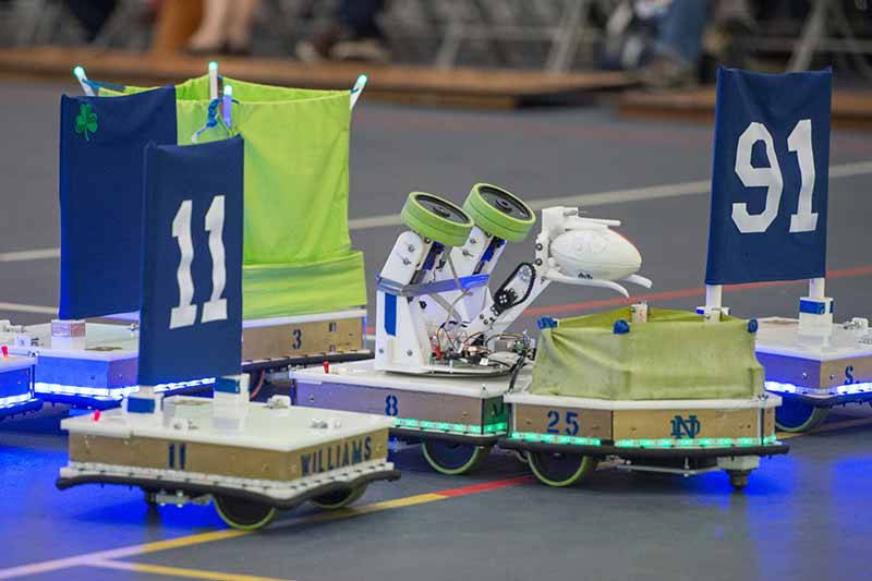 Robots, numbered and equipped to play football