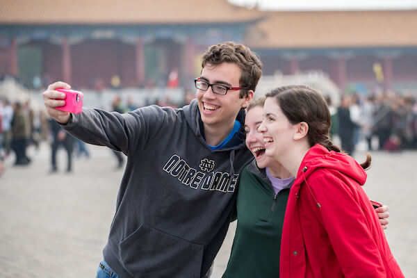Students take a selfie in China.