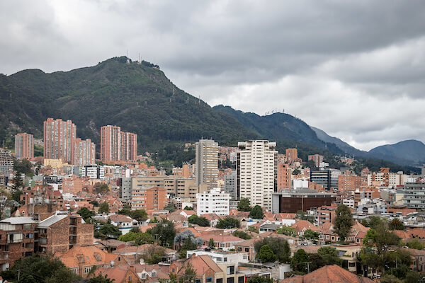 Bogota, Colombia landscape with buildings and mountains