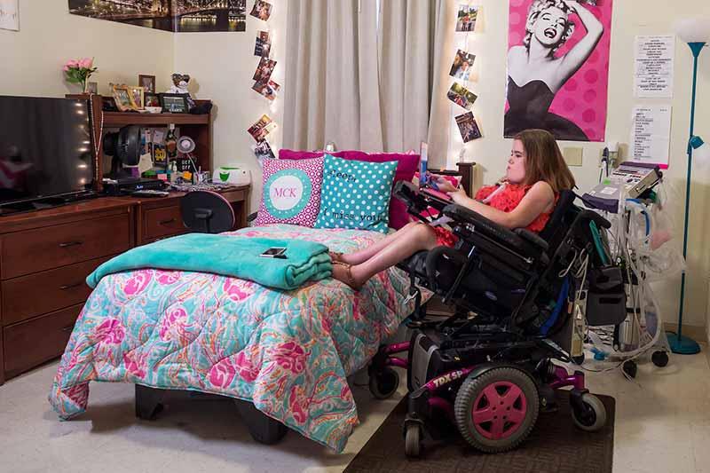 Megan Crowley in her dorm room