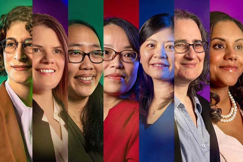 The faces of seven female faculty members on different color backgrounds.
